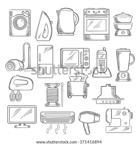 home appliance icons with