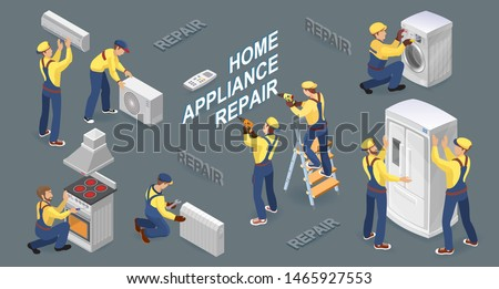 Home appliance repair. Isometric workers with faulty home appliances. Worker repairing broken washing machine, refrigerator, stove, heater, and conditioner. Vector flat 3D illustration.