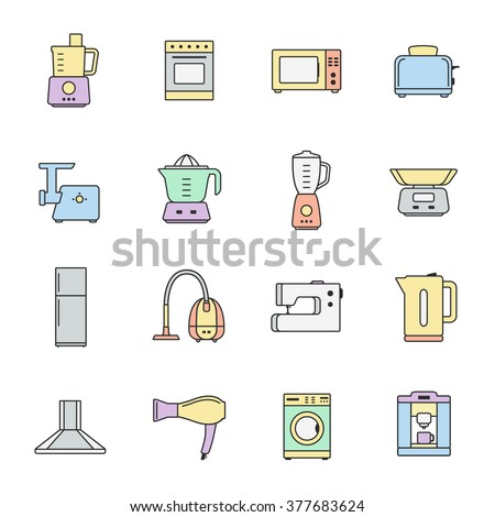 Home appliances and electronics line icons set. Template elements for web and mobile applications