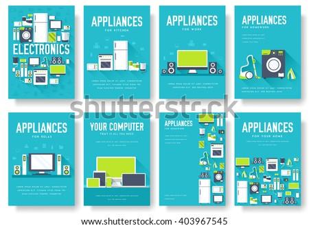 home appliances cards set....