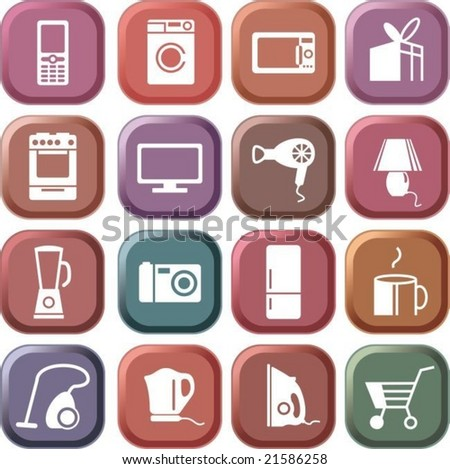 Home appliances icon set - stock vector