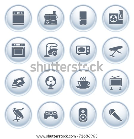 Home appliances icons on buttons, set 2