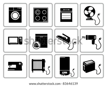 Home appliances icons set. All white areas are cut away from icons and black areas merged.