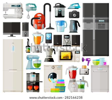 home appliances icons set set