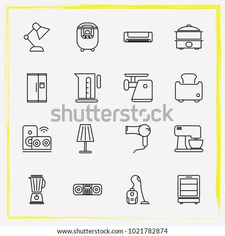 Home Appliances line icon set toaster, coffe maker and mantle