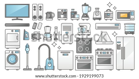 Home appliances set and domestic electronics and machines outline concept. Equipment elements for kitchen cooking, vacuum cleaning or laundry washing vector illustration. Isolated daily indoor gadgets