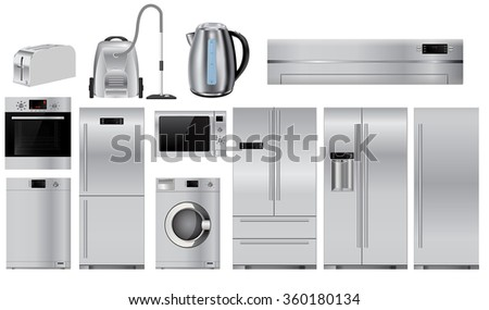 Home appliances. Set of household kitchen technics: Microwave and Oven, Dishwasher, Vacuum cleaner, refrigerator, split-system, washing machine, kettle, Vector isolated on white background