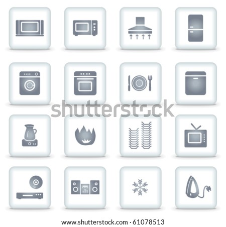 Home appliances vector web icons, white square buttons