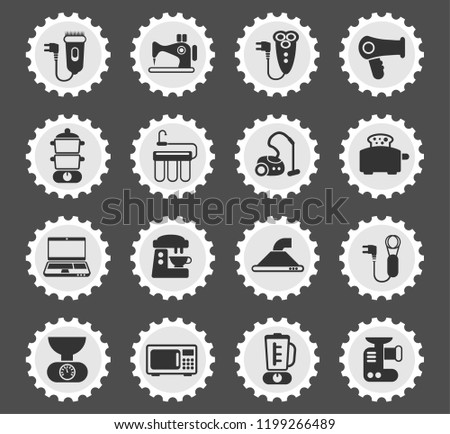 home appliances web icons stylized postage stamp for user interface design