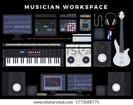 Home Audio Studio Computer Music Sound Station Music recording, post production, film score composer on dark background