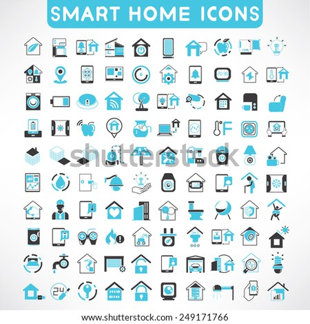 home automation icons set smart home icons stock vector illustration 249171766 shutterstock. Black Bedroom Furniture Sets. Home Design Ideas
