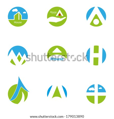home blue green design icons