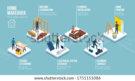 Home building and renovation professional services: architect, builder, electrician, floorist, plumber and painter, isometric infographic