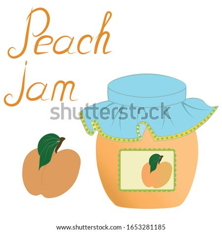 Home canning, food. Peach apricot sweet dessert jam juice in a glass jar with a lid with a sticker label, fresh fruit with leaves and the inscription. Set of three color icons isolate white background