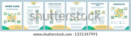 Home care brochure template layout. Housework aids. In home nurse help. Flyer, leaflet print design with linear illustrations. Vector page layouts for magazines, annual reports, advertising posters