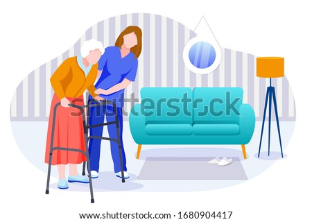 Home care services for seniors. Nurse or volunteer worker taking care of an elderly woman. Vector flat cartoon characters and room interior illustration. Healthcare and social support concept