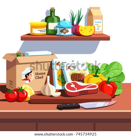 Home chef meal ingredients kit delivery service box. Opened preparation package with recipe books, meat chop and vegetables lying on wooden cutting board & kitchen countertop. Flat vector illustration