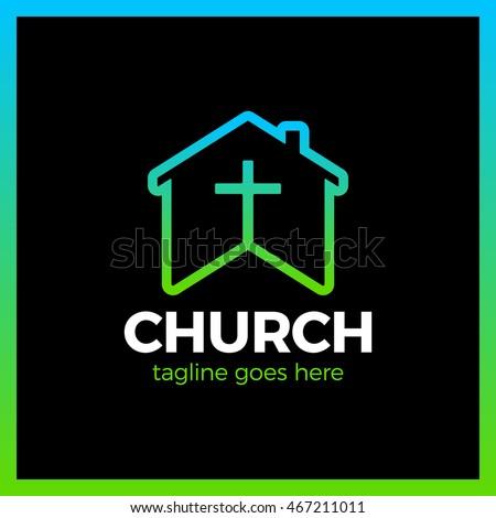 home church logo house bible