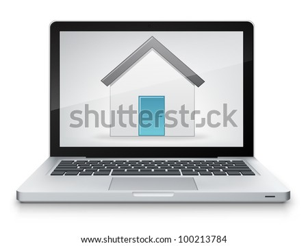 Home Concept. Laptop on Grey Gradient Background. Vector.