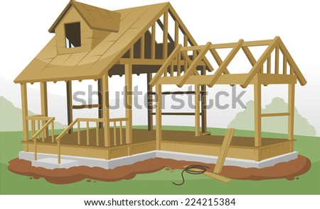 Home Construction Framing Structure, vector illustration cartoon.