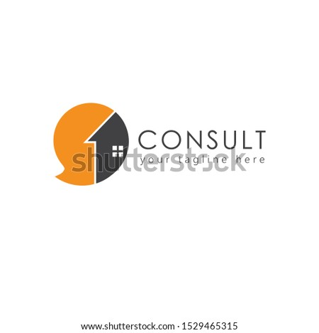 Home consulting agency logo, speech bubble or chat or communication concept design. Great for consulting companies, real estate agent, financial services, consultants, etc.