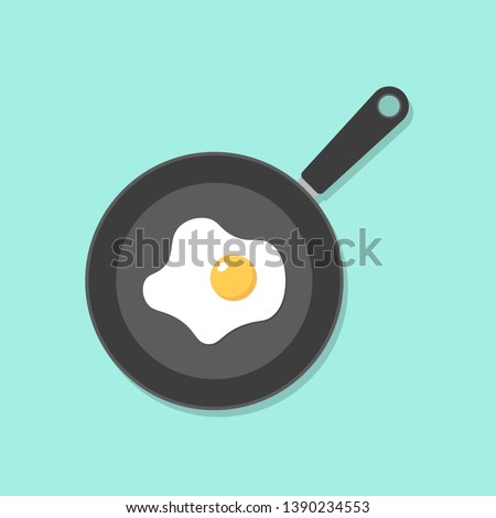 Home cooked food, fried eggs, fried eggs in frying pan, healthy breakfast, home cooking breakfast in cafe, omelet icon. Stok fotoğraf ©