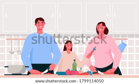 Home cooking. Family cooking healthy or vegetarian meal on table in the kitchen. Mother, father and kid cooking together. Parent teach daughter to cooking food. Flat cartoon vector illustration.