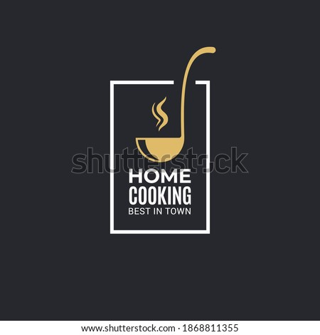 Home cooking logo with ladle on black background Photo stock ©