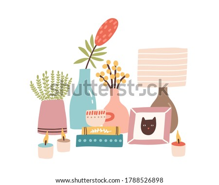 Home decor accessories on dressing bedside table. Modern girl items, stuff. Burning candle, cat photo portrait, houseplant, flower, book. Flat vector cartoon illustration isolated on white background