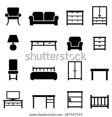 Home decor and furniture icon set