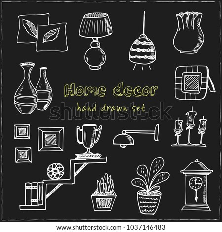 Home decor hand drawn doodle set. Sketches. Vector illustration for design and packages product. Symbol collection.