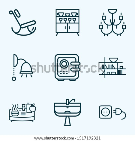 Home decoration icons line style set with electric socket, chandelier, wash stand ceiling lam elements. Isolated vector illustration home decoration icons
