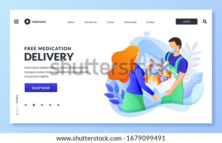 Home delivery service of drugs, prescription medicines. Courier in mask hands package with pills, medicals to woman. Vector 3d isometric illustration. Online pharmacy, drugstore banner, poster design