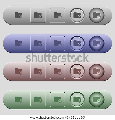 Home directory icons on rounded horizontal menu bars in different colors and button styles #676185553