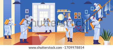 Home disinfection by commercial disinfecting services, surface treatment from pandemic coronavirus. Disinfectant workers wear protective mask and suit sprays covid-19. Vector illustration.