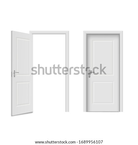Home doors set, front, entry and indoor objects. House, estate facade, elegant lock and room security. Vector doors realistic style illustration