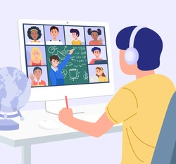 Home Education Concept. A boy learning with computer at home. Vector