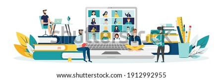Home education concept. People study at home using a computer. Remote working. Video conference on laptop computer. Work from home and work from anywhere conceptVector illustration