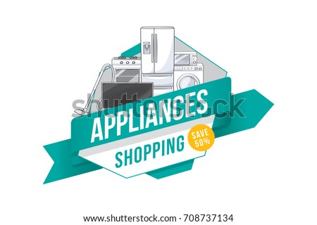 Home electronic appliances badge design. Vector illustration