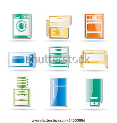 Home electronics and equipment icons - vector icon set - stock vector