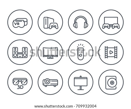 home entertainment system line icons on white, virtual reality glasses, multimedia projector, sound system, game console