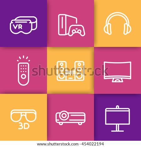 home entertainment system line icons set, multimedia projector, 3d, curved tv, audio speakers, virtual reality glasses, game console