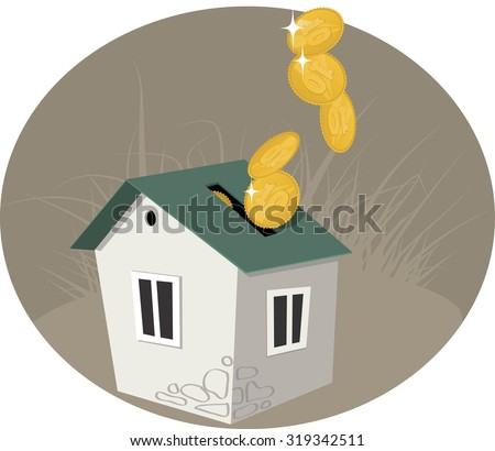 Home equity. A penny bank in a form of  house, coins pouring in it, symbolizing paying off a mortgage or investment in real estate, vector illustration, no transparencies