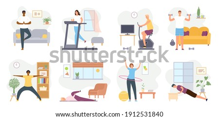 Home exercises. People meditate, do yoga, sport and fitness indoor. Active men and women workout on exercise bike and treadmill vector set. Doing stretching and exercising with dumbbells