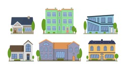 Home facade with doors and windows. Suburban American house exterior flat design front view with roof and some trees. Apartment in a townhouse. Modern buildings in a flat style. Vector illustration.