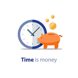 Home finance, piggy bank, financial period, clock icon, annual payment, income growth, return on investment, budget planning, expenses concept, savings bank account vector illustration