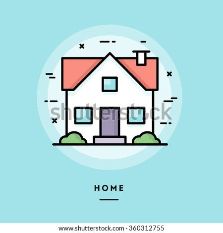 home  flat design thin line
