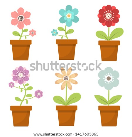 Home flower in pot vector design illustration isolated on white background 商業照片 ©