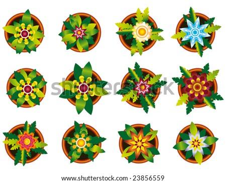 Home flowers raster image illustration / icon