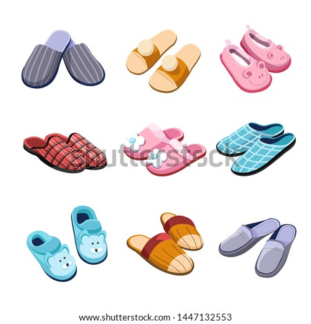Home footwear Slippers isolated pairs male female and for kids vector flip flops shoes checkered textile animal head flowers and bubos domestic outfit element or garment clothing soft fabric.